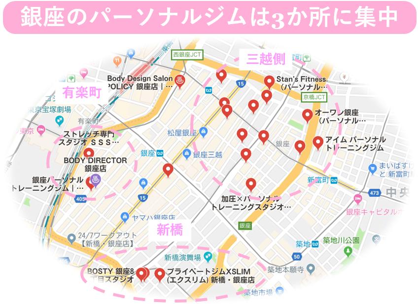 銀座 パーソナルトレーニングジム マップ