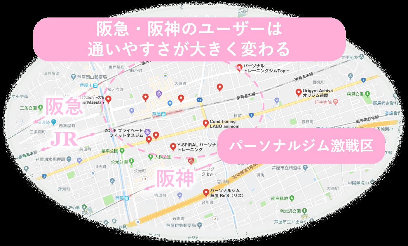 芦屋 エリア比較 阪急 阪神